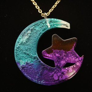 COPY - Blue and Purple Crescent Moon and Star Nec…